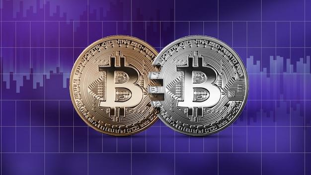 Monety bitcoin, złote i srebrne monety na tle ultrafioletowym. pojęcie technologii blockchain i transferów pieniężnych. koncepcja analogowa karty mastercard. koncepcja handlu kryptowalutami i blockchain. c
