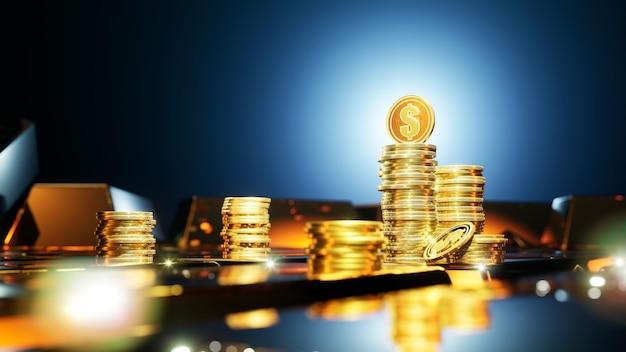 Monety dolarowe otoczone sztabkami złota