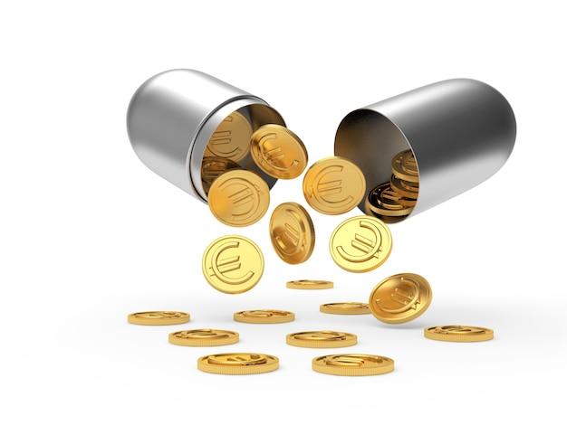 Monety euro wypadające ze srebrnej otwartej kapsuły medycznej