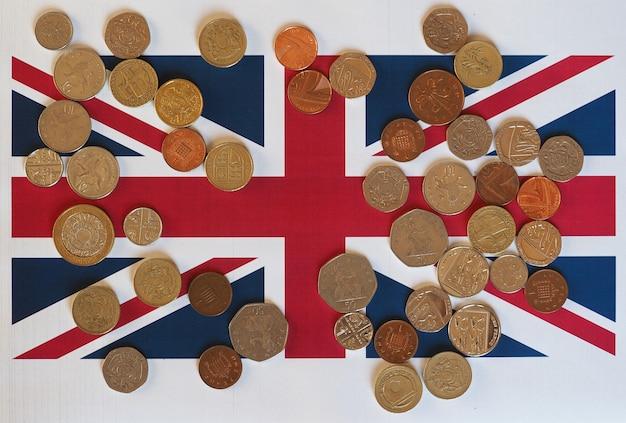 Monety funtowe, wielka brytania nad flagą