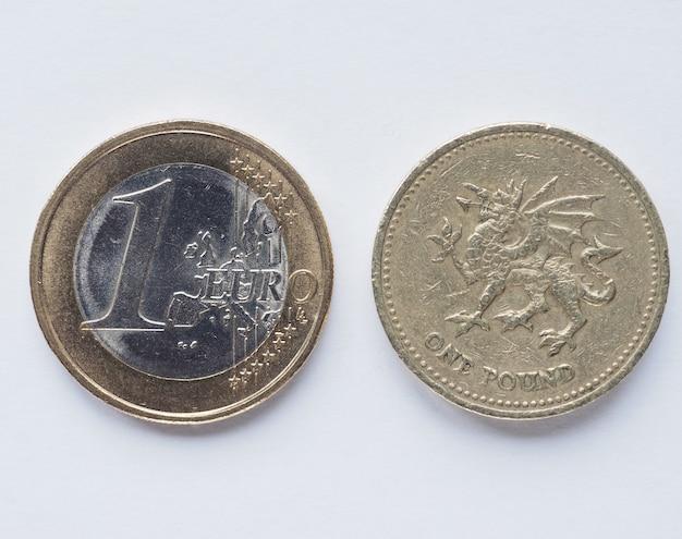 Monety jedno euro i jedno funtowe