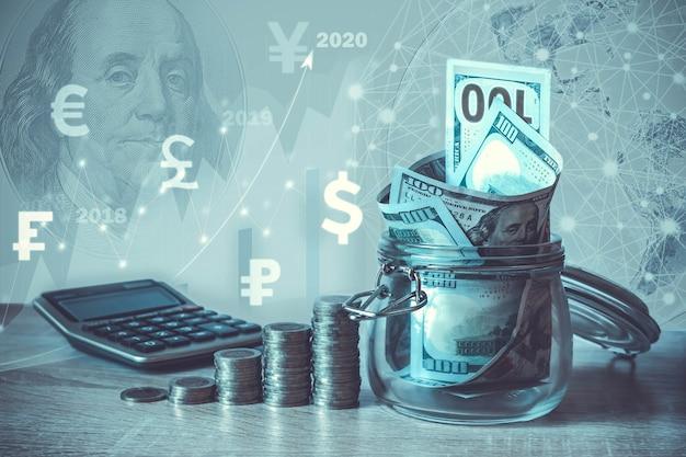 Monety kalkulator stosu banknoty dolarowe w szklanym słoju wirtualny hologram grafowa waluta statystyczna ziemi