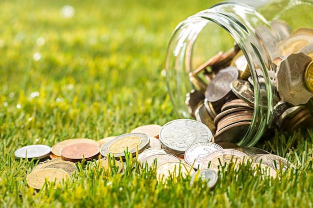 Monety przy szklanym słojem dla pieniądze na zielonej trawie