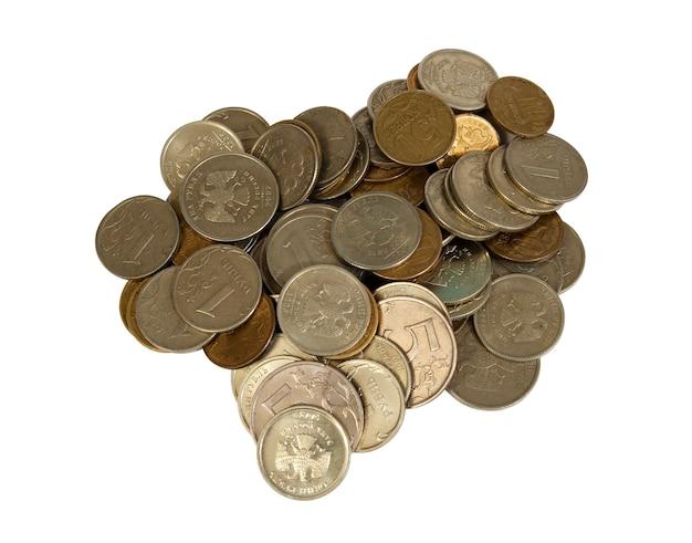 Monety rosyjskie. białe tło, izolacja