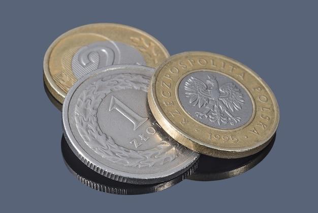 Monety złotego polskiego na ciemnym tle