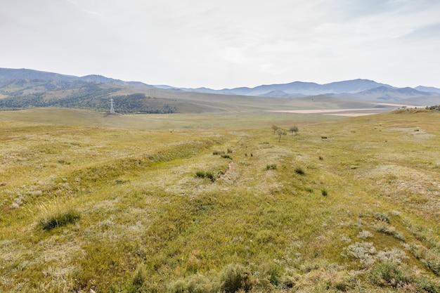 Mongolski step na tle zachmurzonego nieba, piękny krajobraz. mongolia