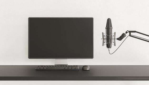 Monitor do komputera z mikrofonem
