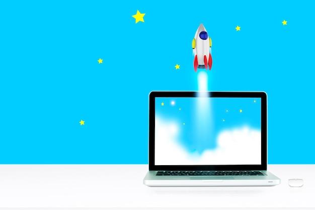 Monitor komputerowy na białym tle na białym ekranie na biurku w stylu biurowym. start promu kosmicznego na otwartej przestrzeni nad ziemią. ocean i niebo pod pojęciem kosmicznym biznesu. . renderowanie 3d