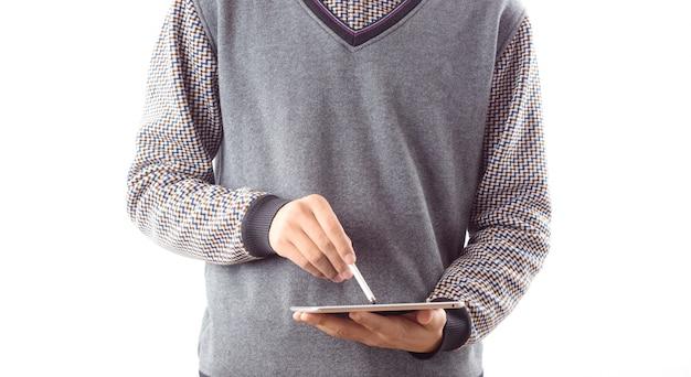 Monitorować człowieka przodu touchpad internet