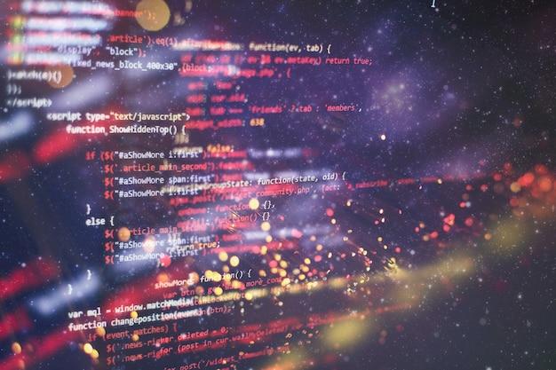 Monitoruj zbliżenie kodu źródłowego funkcji. streszczenie tło technologii it. kod źródłowy oprogramowania.