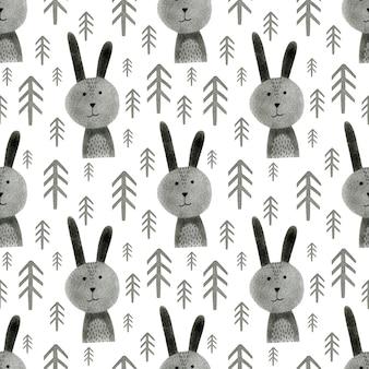 Monochromatyczne akwarela bezszwowe wzór królik choinka