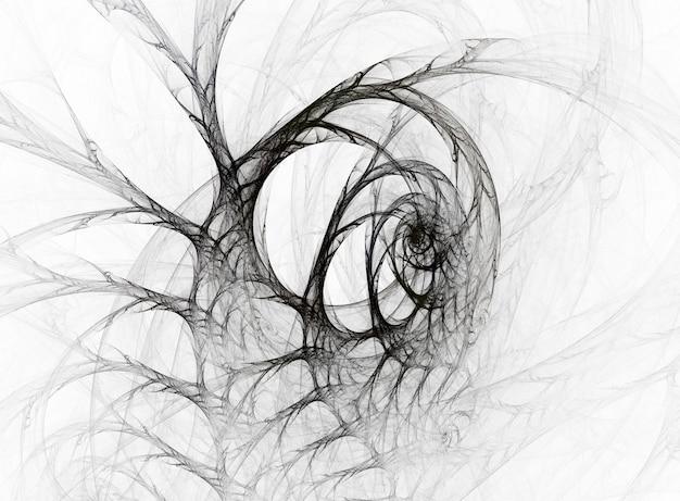 Monochromatyczne streszczenie okrągłe krzywe i linie na białym tle