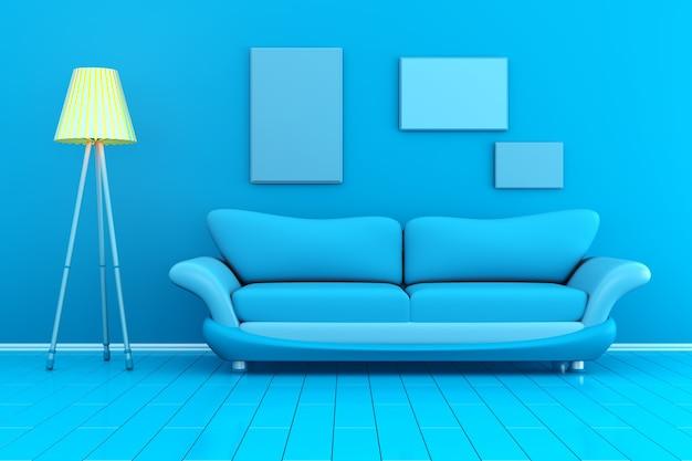 Monochromatyczny 3d renderowane ilustracja wnętrza z pustymi ramkami do zdjęć na ścianie.