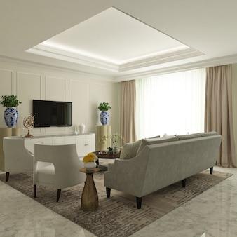 Monochromatyczny nowoczesny klasyczny salon z sofą, fotelem i kredensą