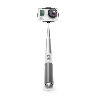 Monopod z kamerą do robienia zdjęć selfie i wideo na białym tle.
