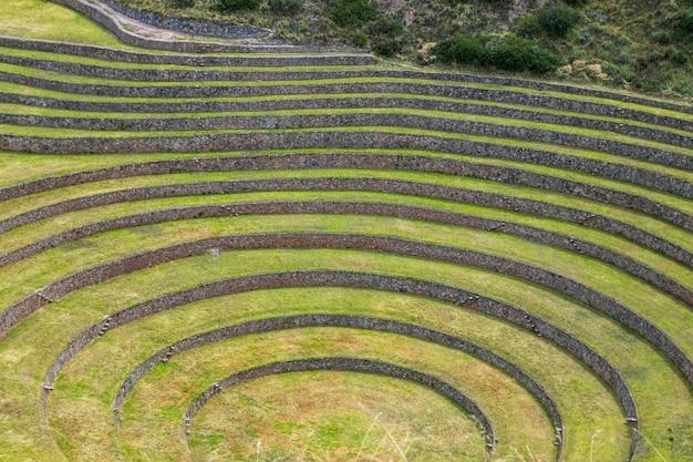 Moray, stanowisko archeologiczne położone w świętej dolinie cusco. peru