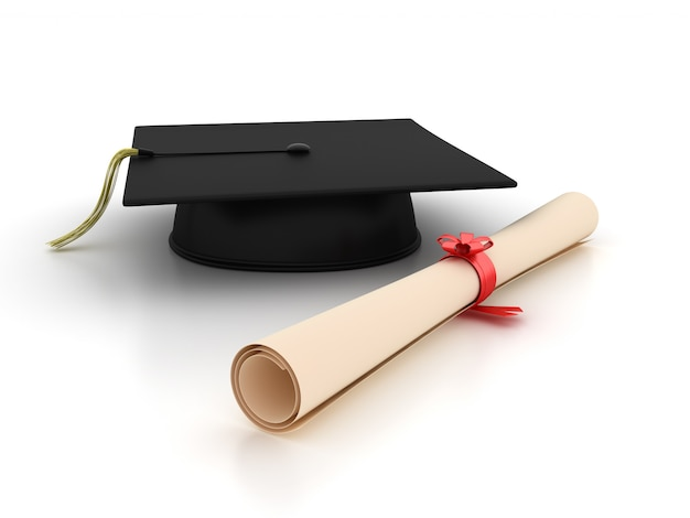 Mortarboad and diploma
