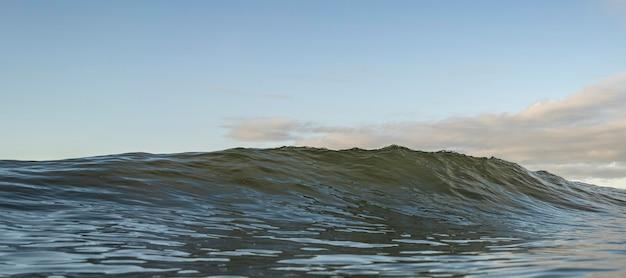 Morze krajobraz z falą i niebieskim niebem