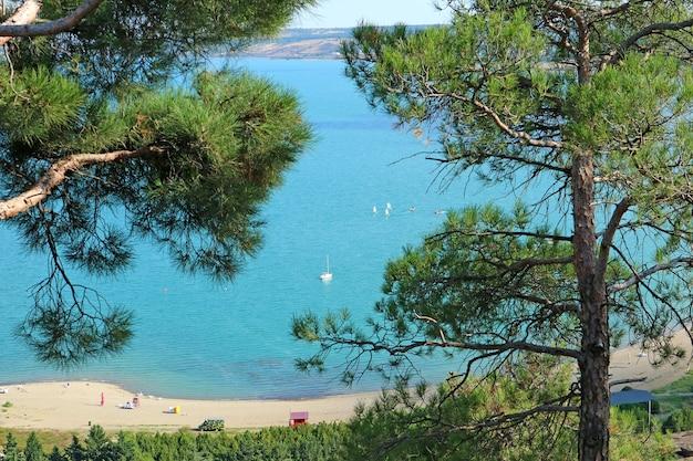 Morze tbilisi lub zbiornik tbilisi, gruzja, widok z pomnika kroniki gruzji