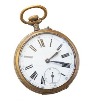 Mosiężny zegar vintage na białym tle