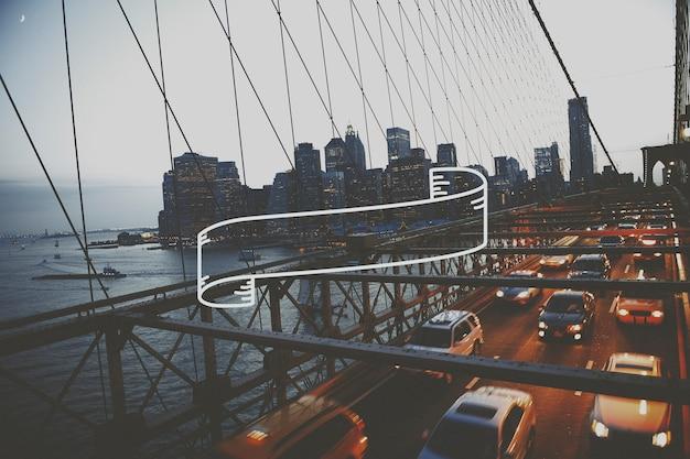 Most brookliński w godzinach wieczornych
