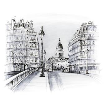 Most na rzece seine pont louis philippe w pobliżu ile de la cite w zimowy poranek, panteon w paryżu, francja. czarno-białe markery wykonane z obrazka