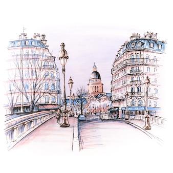 Most na rzece seine pont louis philippe w pobliżu ile de la cite w zimowy poranek, panteon w paryżu, francja. markery wykonane z obrazka