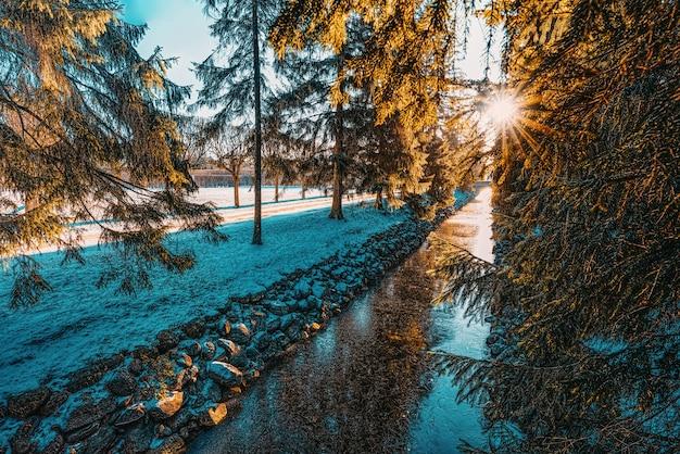 Most nad kanałem rybnym w parku katarzyny, carskie sioło (puszkin). sankt petersburg. rosja.