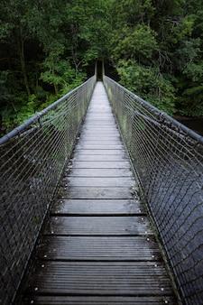 Most wiszący nad rzeką otoczoną bujną roślinnością most cal grande we fragas do eume