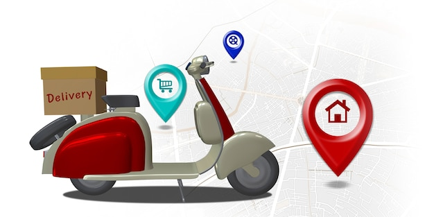 Motocykl dostawczy mapa miasta punkt gps współrzędne lokalizator pin system dostawy online 3d