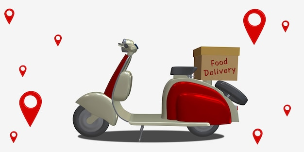 Motocykl dostawczy mapa miasta punkt gps współrzędny lokalizator pin system dostawy online