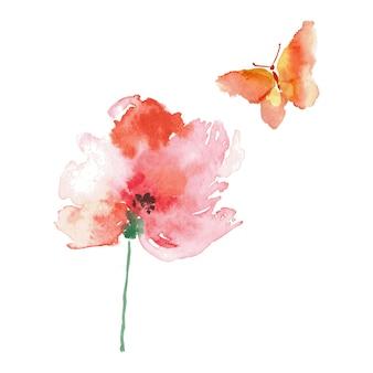 Motyl i kwiat akwarela rysunek na białym tle.