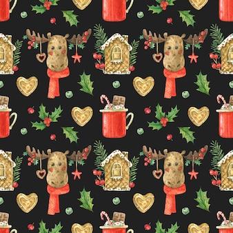 Motyw bożonarodzeniowy z reniferem i piernikiem