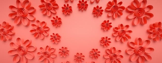 Motyw kwiatowy wykonany z wyciętych papierów. kształty origami, składane ręcznie.