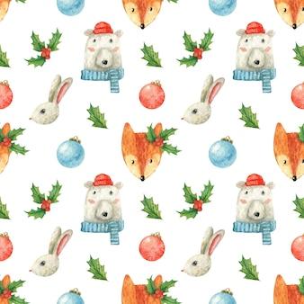 Motyw świąteczny z uroczymi zwierzętami