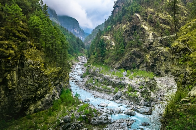 Mountain canyon valley. piękny krajobraz rzeki