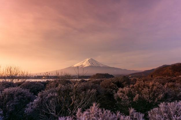 Mountian przy jeziornym kawaguchiko w japan, krajobrazowy ranku wschód słońca