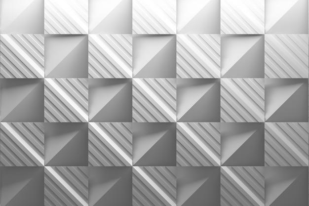 Mozaika na białym tle z kwadratowymi złożonymi płytkami w paski