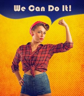 Możemy to zrobić ilustracja z kobietą w stylu pin-up pokazującą swoje umięśnione bicepsy