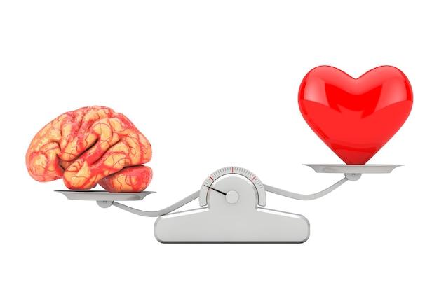 Mózg i czerwone serce nad prostą skalą równowagi na białym tle. renderowanie 3d