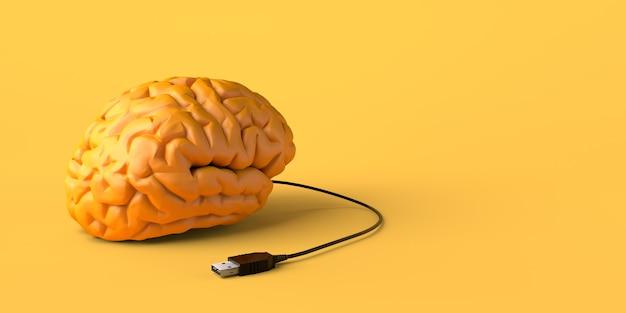 Mózg podłączony do kabla usb. skopiuj miejsce. ilustracja 3d.