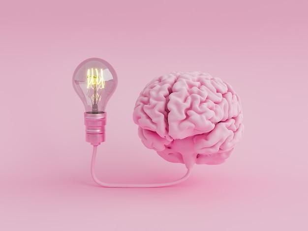Mózg połączony z podświetlaną żarówką
