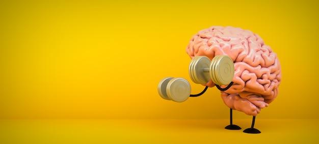 Mózg trenuje na żółtym pokoju, 3d rendering
