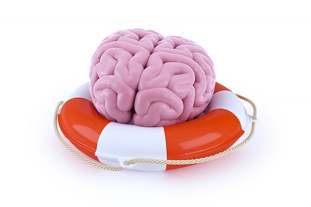 Mózg w koło ratunkowe na białym tle