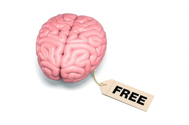 Mózg z metką bezpłatną na białym tle.