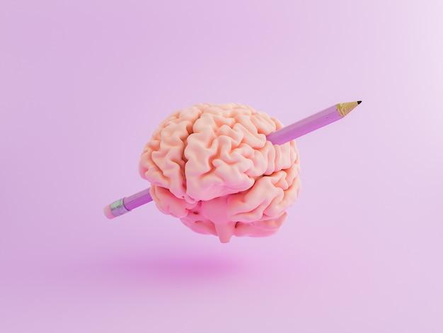 Mózg z ołówkiem na wylot