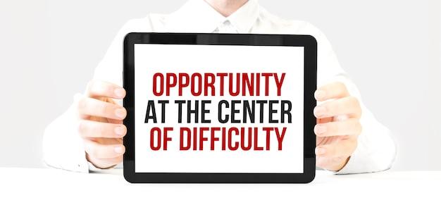 Możliwość tekst w centrum trudności na wyświetlaczu tabletu w rękach biznesmena na białym bakcground. pomysł na biznes