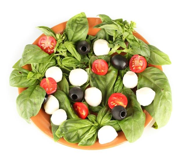 Mozzarella serowa z warzywami na talerzu na białym tle