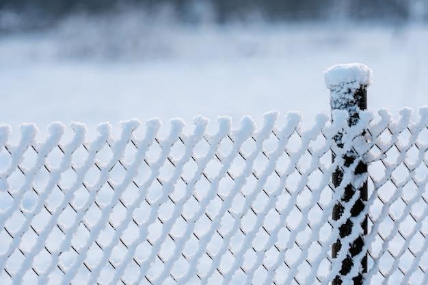 Mrożone ogrodzenie wykonane z metalowej siatki pokrytej zaśnieżonym szronem