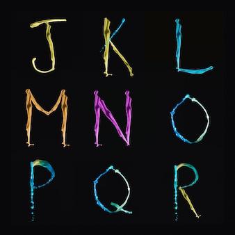 Multi kolorowe alfabety wodne od j do r na czarnym tle